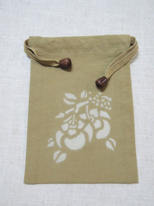 [Yield] Terminalia Mumu hand-made gold leaf vegetable dyes soil Pouch (wishful persimmon persimmon)
