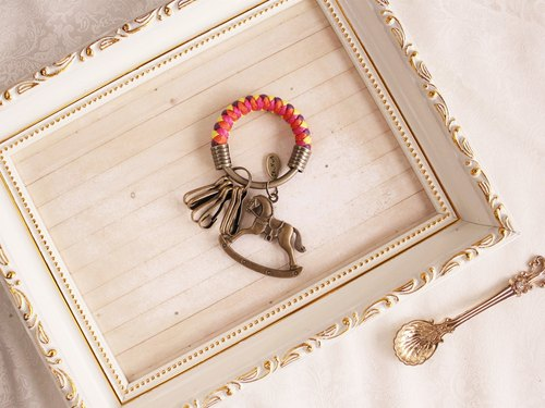 [Na UNA- excellent hand-made] key ring (small) 5.3CM bright pink + orange + yellow + purple + amusement park horse hand-woven wax rope hoop customization