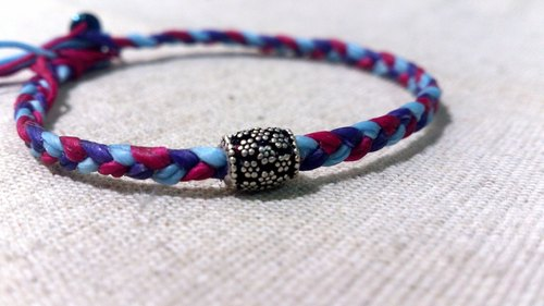 Sterling Silver blossoming flowers. Wide bracelet tricolor