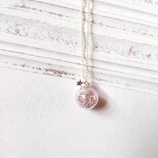 *Haku‧Neko*pink glass ball star necklace