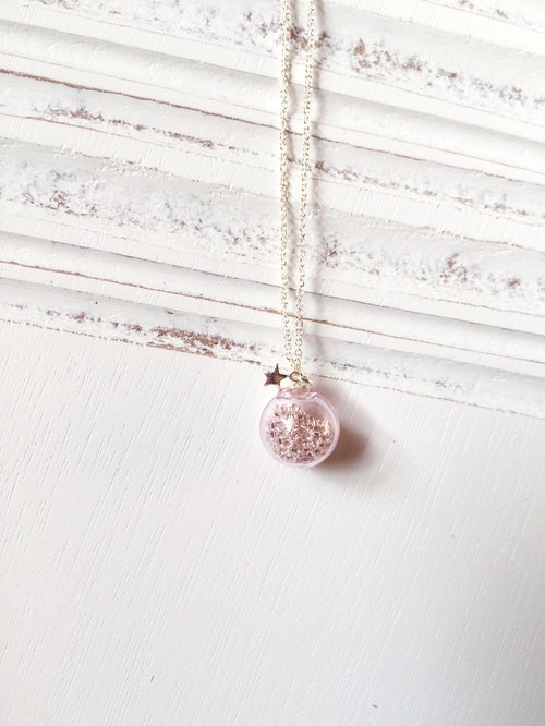 *Haku‧Neko*star light pink glass necklace
