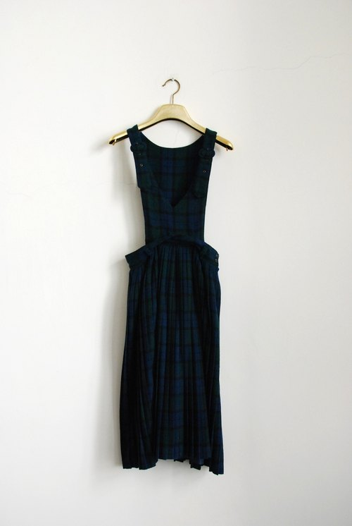 Plaid wool dress sling