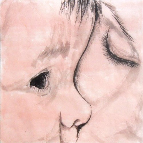 25x25cm Custom Portrait, Mother and Child's Portrait, Original Hand Drawn Portrait from Your Photo, OOAK watercolor Painting Ideas Gift