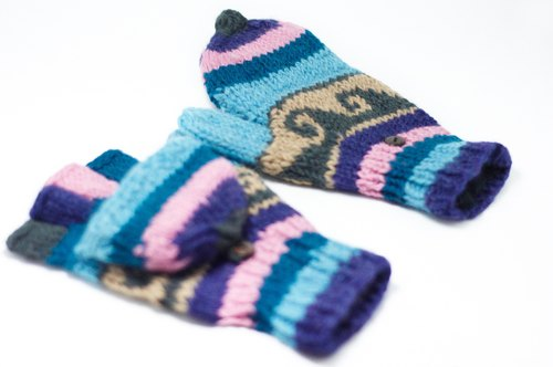 Valentine's Day gift limit a hand-woven pure wool knit gloves / detachable gloves / bristles gloves / warm gloves - blue line national totem