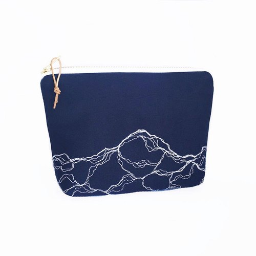 Modern Embroidery Medium Purse Blue Pencil Case Make Up Bag