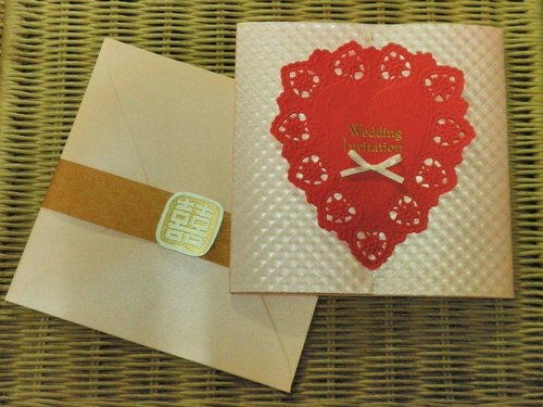 Extreme lace handmade wedding card