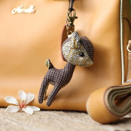 Deer stained yellow geometric Charm Key Chains