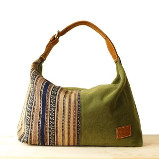 [Happa] youthful invincibility soft shoulder backpack (in) - Hand knotted kilim paragraph (Olive olive green) real picnic to take money