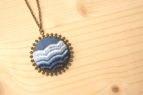 Natsumi blue. hsiu hand-embroidered necklace