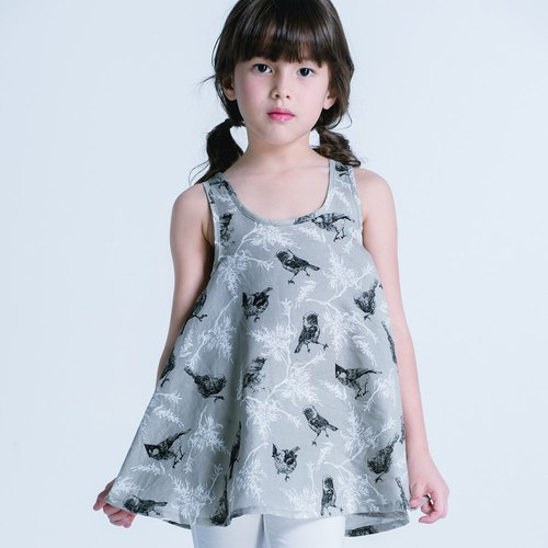 Minibite forest birds Dress - gray