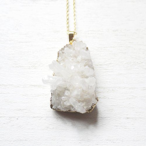 (Limited) cathartic E_ white crystal stone | gold-plated necklace / 019 / over the United States style /