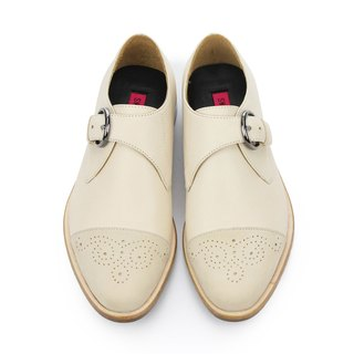 JAZZ M1120 OffWhite  leather Monk-Strap Shoes