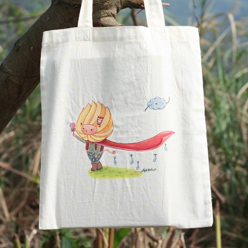 Hand-painted bag - courage lion pleasure meter