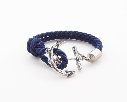 Navy blue nautical hook bracelet