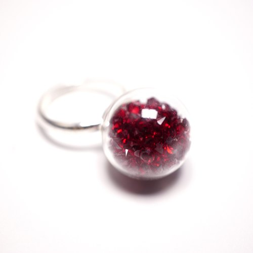 A Handmade red crystal ball ring