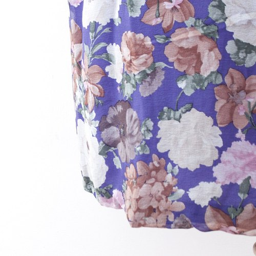 [RE0522D280] purple flowers full version of classic retro vintage thin models long-sleeved dress