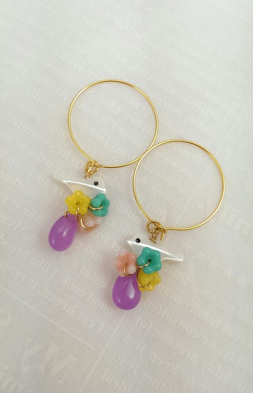 ". ""Good morning, little bird shells Rainbow Series"" - is circled in purple chalcedony earrings / ear hook jelly semi-precious stones (hypoallergenic)"