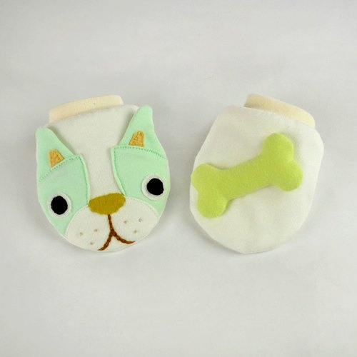 Organic cotton gloves Bulldog Art - fresh green