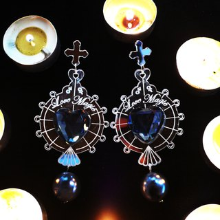 Love Magic Mirror silver gemstone earrings
