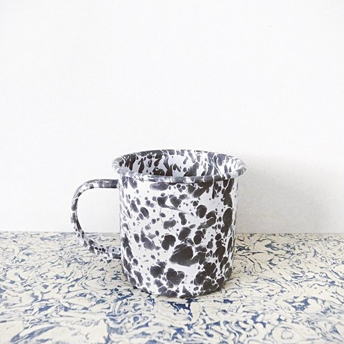Enamel mug - gray and white marble