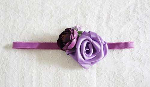 Handmade Purple ribbon rose Elastic baby/ kid Headband