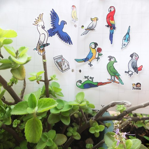 Parrot friend transparent stickers DOUBLE! 22 stressed animals