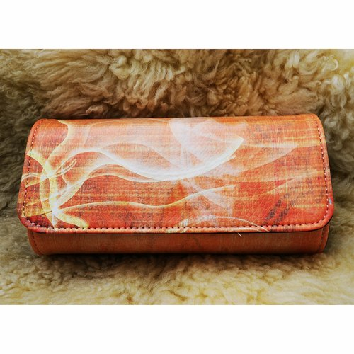Fire original pattern blue patent clutch (comes with subsection wrist band)