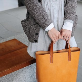 Hand Stitched Light Brown Leather Tote Bag (Normal Version)