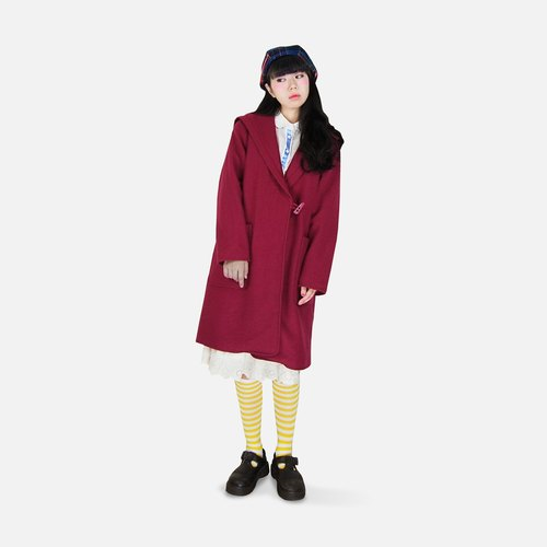 A‧PRANK: DOLLY :: VINTAGE retro with pink horns hooded large lapel wool coat jacket