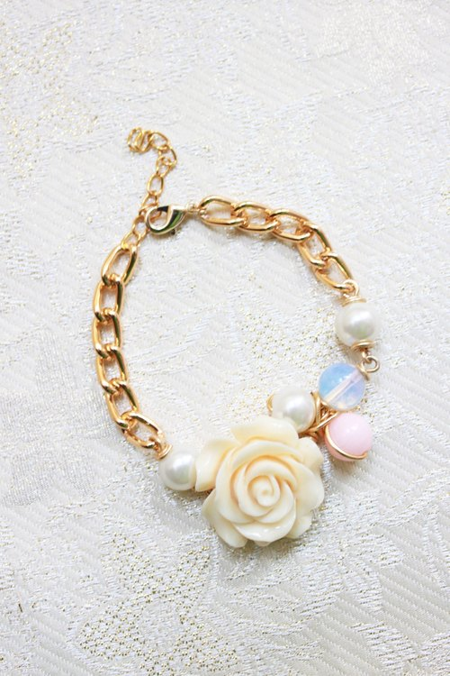 Ivory Resin Flower, Moonstone, White and Pink Stone with Golden Chain Bracelet