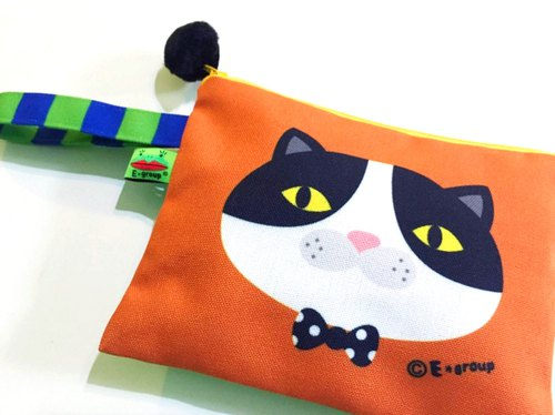 E * group box portable bag (black and white meow green orange) double-sided design universal admission package handbag bag cosmetic bag