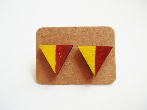 Hand-painted wooden blocks of color triangle earrings ear Literary