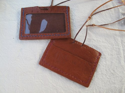 Hand-stitched leather business card holder / card sets