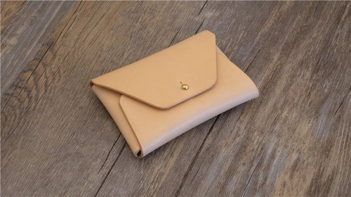 Handmade vegetable tanned leather business card holder zero wallet minimalism card packs