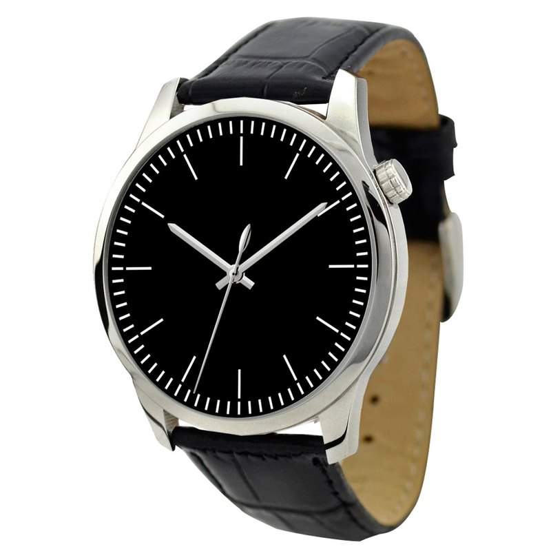Men's simple black-faced watch