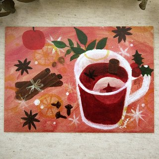 Mulled wine recipes hand-painted postcards