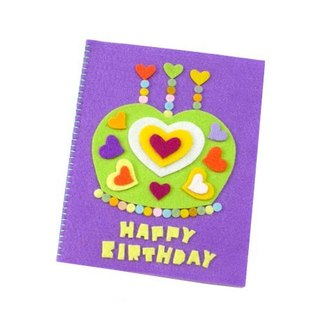 Handmade non-woven card _ Love Crown Cake Birthday Card B
