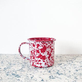 Enamel mug - red and white marbling