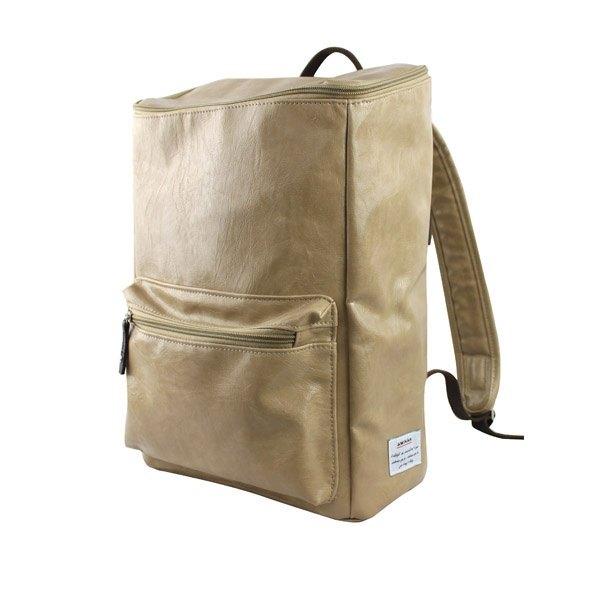 AMINAH-卡其色復古皮革方形後背包【am-0227】