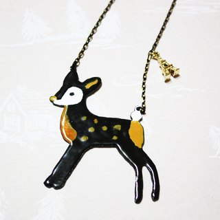 Enamel Black Deer long chain