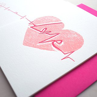 Heartbeat - Letterpress Valentine Card - Love Card