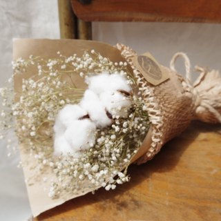 Take a dried flower bouquet of cotton flowers