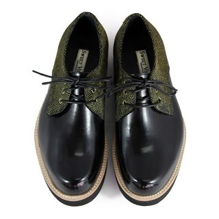 Hazel M1126A Black Gold leather sneakers