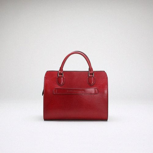 Bodhi says FOSTYLE first layer vegetable tanned leather handmade leather bag medium Boston bag shoulder bag messenger bag handbag wine red