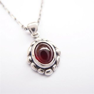 Classical Series 9 - 925 sterling silver necklace with red garnet