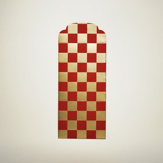 Large plaid gilded red bag