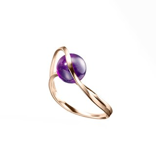 Amethyst Engagement Ring, Dainty Jewelry in 14k Yellow Gold, 14k Minimalist Ring