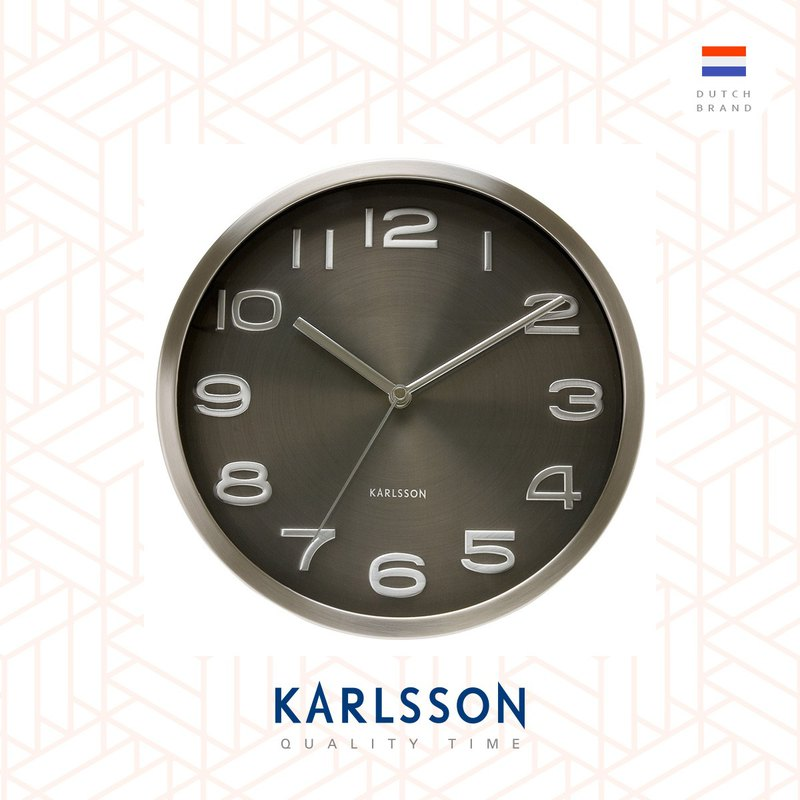Karlsson, Wall clock 29cm Maxie steel polished Brown