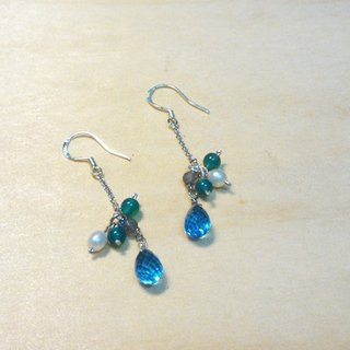 Tong Ling set record 925 sterling silver ornaments ~} {light of day Swiss Blue Topaz natural pearls Handmade Dangle Earrings Multi