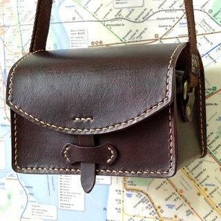 Retro leather camera bag - rectangular section - umber